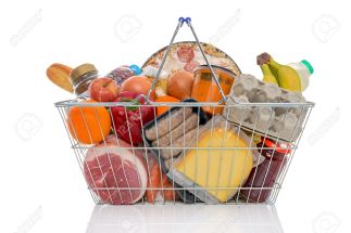 27776593-studio-shot-of-a-shopping-basket-full-of-food-including-fresh-fruit-vegetables-meat-pizza-and-dairy-stock-photo